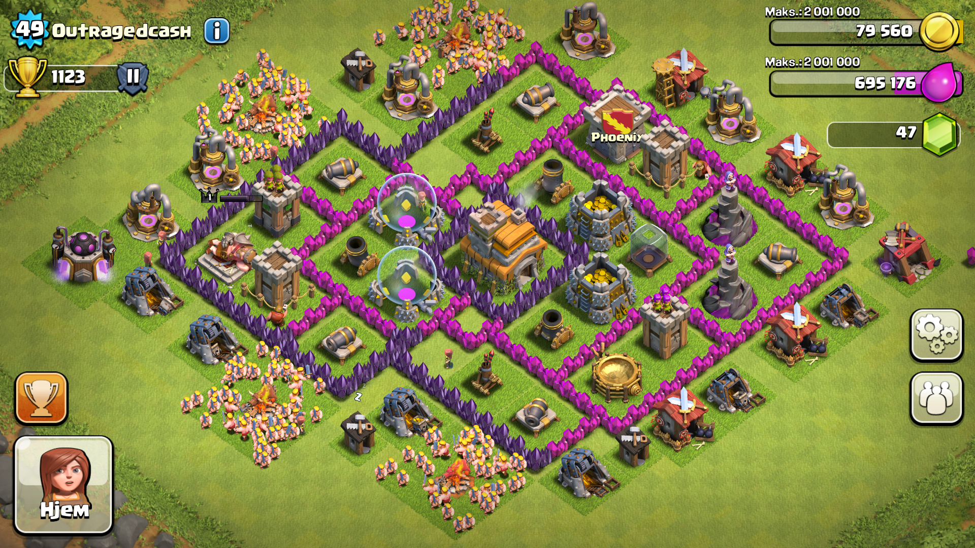 clash of clans town hall 7 dragon defense setup